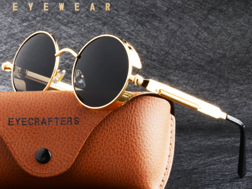 Gold Retro Metal Polarized Sunglasses