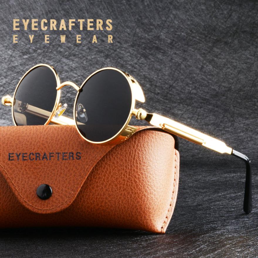 Gold Retro Metal Polarized Sunglasses
