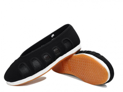 Black Taoist Cloud Shoes with Net Windows Black and White